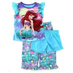 a9f2ba267b48 Little Mermaid Ariel Girls 3 pc Poly Pajamas Set