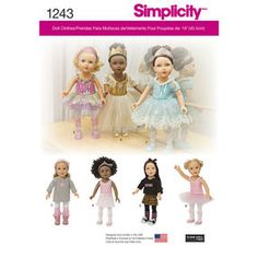 Simplicity Pattern 1243 Ballerina and Dance Clothes for 18 inch Doll