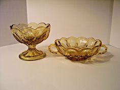 Vintage Indiana Glass Honey Amber 2 Handle Nappy Dish & Pedestal Compote (AG123)