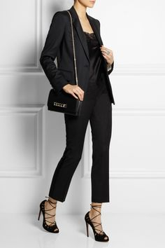 Stella McCartney | Iris wool-twill blazer | Carine Gilson | Sonia lace and silk camisole | Balmain | Wool slim-fit pants | Alaïa | Lace-up cutout suede pumps | Valentino | Va Va Voom leather shoulder bag |