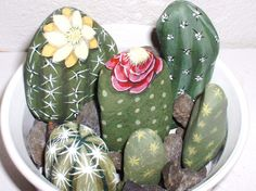 Colorful CACTUS GARDEN BOWL Hand Painted Rock by reallyrocks