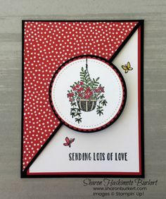 Sharon Hashimoto Burkert:   Stampin' Up Hanging Garden; Stampin' Blend Markers; SU Layering Circle Framelits and Stitched Shapes Framelits die sets; SU Brights Designer Series Paper, 6x6; half-pocket