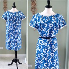 Vintage 60s Day Dress Blue and White Floral by Flourisheshome, $42.00