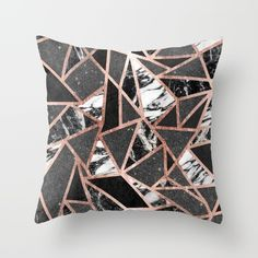 Modern Rose Gold Glitter Marble Geometric Triangle Throw Pillow by BlackStrawberry | Society6