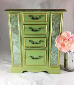 Large Vintage Jewelry Box Armoire, Distressed Green Damask Jewelry Organizer, Painted Wood Jewelry Storage Cabinet, Up cycled Jewelry Box $85.00 by Reimaginations on Etsy