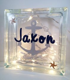 Personalized Glass Block Glass Block Light by AlyChrisBoutique