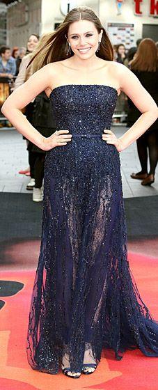 Elizabeth Olsen wears a sparkling Elie Saab gown for the London premiere of Godzilla