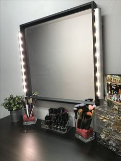 DIY Hollywood mirror using: IKEA STRIBERG lighting and NISSEDAL mirror.  Under $100!!