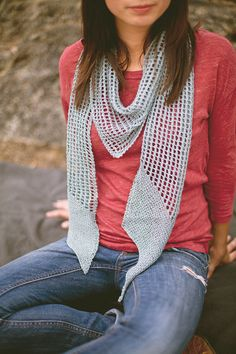 Strathcona Scarf Lace Mesh Garter Bias Linen Knitting Pattern PDF. $4.50, via Etsy.