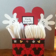 Mickey Mouse Clubhouse theme birthday party. Altered starbucks frappuccino carrier for cutlery.