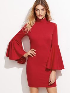Red High Neck Bell Sleeve Bodycon Dress - Zooomberg