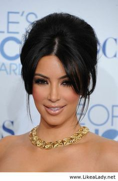 Kim Kardashian - Hair up / Celebrity... I want something like this but a little more textured...