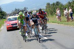 2014 18/7 rit 13 > Visconti (Movistar), De Marchi (Cannondale), Kadri (AG2R), Durasek (Lampre), Oss (BMC), Molard (Cofidis), Bakelants (OPQS), Huzarski (NetApp) et B.Feillu (Bretagne) roulent à 85 km de l'arrivée, mais n'ont plus que 3'05'' d'avance