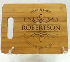 "Custom Personalized Wedding Gift - Engraved Bamboo Cutting Board  - 11"" x 8"". $22.50, via Etsy."