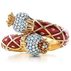 Thistle Bracelet of Gold, Enamel and Diamonds by Jean Schlumberger for Tiffany  Co.