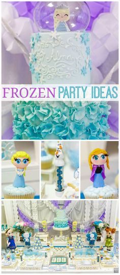 Check out this gorgeous Frozen party! Love the cake! See more party ideas at CatchMyParty.com!