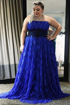 Blue A Line Brush Train Strapless Sleeveless Lace Plus Size Prom Dresses S12
