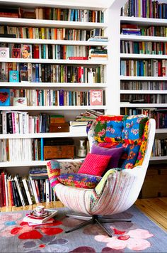 the bookshelves and the chair!