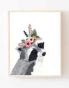 Flower Crown Forest Friends Print Set This animal art prints collection features a set of 6 prints from my original flower crowned animals wall art. The collection includes portraits of an owl, deer, fox, racoon, bear, and rabbit. If, however, youd like to swap any of them for a different piece in my shop, please give me a notice about which animals you want to swap it. Materials: Printed on beautiful high quality, archival and acid free velvet fine art paper using professional Epson Ultr...