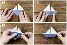 How to Make a Cute Origami Sail Boat!, , This very simple traditional origami model makes a sweet decoration perfect at a kids party, great table place cards or use as a card embellishment! Origami Ball, Origami Diy, Cute Origami, Money Origami, Useful Origami, Origami Tutorial, Origami Paper, Oragami, Origami Cards