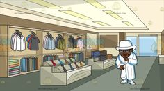 A Pimp In All White At Inside A Clothing Shop For Men :  A man with brown skin black mustache and beard wearing a pair of black sunglasses white hat fur coat pants and shoes gold rings around his right index and middle finger as his right hand touches his chin. Set in inside a shop that sells clothes for men like shirts long sleeves sweater pants suits coat jackets bags and necktie with two mannequins near the window display area and door floor covered in gray carpet walls painted in brown…