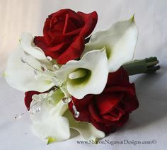 sharon nagassar designs silk, latex, real touch, custom wedding flowers - Red White Calla Lilies Roses