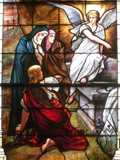 Christ's death consisted in being buried, and remaining dead, and under the power of death for 3 days; also expressed in these words, He descended into hell Antique Stained Glass Windows, Stained Glass Church, Resurrection Of The Dead, Sunday Rose, Empty Tomb, Apostles Creed, Christ Is Risen, Church Windows, Holy Mary