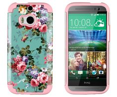DandyCase 2in1 Hybrid High Impact Hard Vintage Sea Green Floral Pattern + Pink Silicone Case Cover For HTC One M8 (2014 release) + DandyCase Screen Cleaner:Amazon:Cell Phones & Accessories
