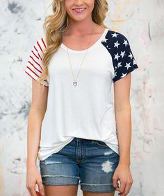 Another great find on #zulily! White Plum White American Spirit Raglan Tee by…