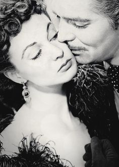 "Clark Gable and Vivien Leigh in a publicity still for ""Gone With The Wind"", 1939."