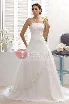 Timeless A-Line Strapless Appliques Chapel Train Taline's Wedding Dress : Tidebuy.com