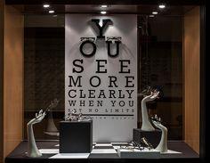 Visual Merchandising Arts, School of Fashion at Seneca College. Window Display Retail, Window Display Design, Retail Store Design, Retail Stores, Visual Merchandising Displays, Fashion Merchandising, Optometry Office, Store Displays, Retail Displays