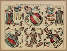 "Pantin ""Pantins. Fort & Dame de la Halle.-Marquis & Marquise.-Arlequin & Lisette"" ca. 1860, Fons Joan Amades #dolls #paperdolls #puppets"