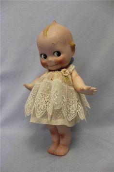 """Huge 12"""" Antique German Bisque KEWPIE c1915 TWO Labels Signed O'Neill Dressed !"""
