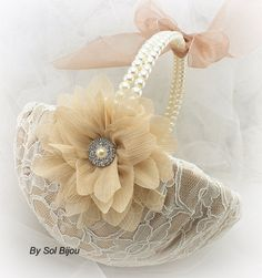 Flower Girl Basket, Wedding, Bridal, Champagne, Tan, Beige,Ivory with Pearls, Lace, Crystals,  Vintage, Elegant, Gatsby Wedding
