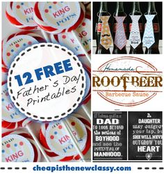 Check out these 12 #FREE Father's Day Printables. #fathersday   #printables    http://cheapisthenewclassy.com/2014/06/12-fathers-day-printables.html