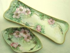 Antiques Off Broadway, gorgeous 7 piece antique porcelain hand painted vanity set trays boxes powder shaker hair receiver perfume bottle, dresser accessories, a web store of fine antiquities. Dresser Vanity, Dresser Sets, Vanity Tray, Vanity Set, Painted Vanity, Painted Porcelain, Hand Painted, Lipstick Case, Soothing Colors