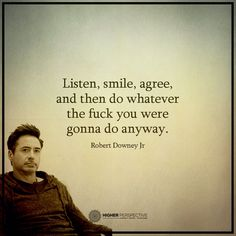 Listen, smile, agree, and then do whatever the fuck you were gonna do anyway. – Robert Downey Jr. thedailyquotes.com