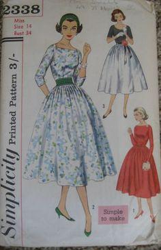 NEW Vintage 1950s Sewing Pattern - Evening Dress with Cummerbund - Size 14 | eBay