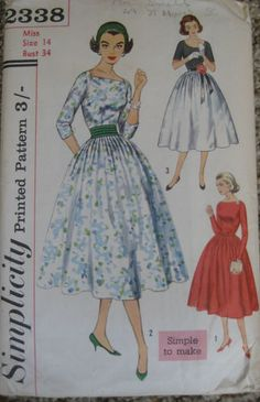 NEW Vintage 1950s Sewing Pattern - Evening Dress with Cummerbund - Size 14 | eBay