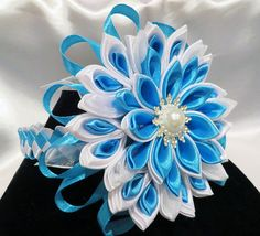 Handcrafted Blue Floral Headband by KanzashiAccessories on Etsy