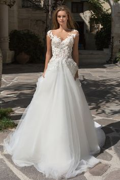 Glamorous Tulle Bateau Neckline See-through Bodice A-Line Wedding Dress With Beaded Lace Appliques - Welt der Hochzeit Stunning Wedding Dresses, New Wedding Dresses, Perfect Wedding Dress, Beautiful Gowns, Bridal Dresses, Wedding Dressses, Dream Wedding, Weeding Dress, Wedding Dress Sleeves