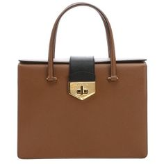 Prada Caramel and white saffiano leather structured top handle bag (12.115 BRL) ❤ liked on Polyvore featuring bags, handbags, white handle bags, white purse, handbags & purses, structured purse and flap purse