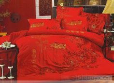 Festive Mandarina Duck and Flawers 4 Piece Wedding Bedding Sets