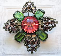"""SCHREINER AT HIS FINEST: HUGE 3"""" BROOCH IN PINK, PERIDOT, AND LAVENDER."""