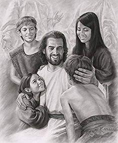 Joy Jesus Christ & Children Print Picture by David Bowman Religious Art Jesus Laughing, Laughing Jesus Picture, Arte Lds, Jesus Smiling, Pictures Of Jesus Christ, Jesus Pics, Padre Celestial, Religion Catolica, Jesus Christus