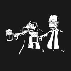A Simpsons t-shirt in with Homer and Moe in the famous Pulp Fiction pose. Art by Stationjack/Martyn Dawson. The Simpsons, Simpsons Videos, Simpsons Shirt, Pulp Fiction, Funny Tee Shirts, T Shirt, Shirt Shop, Digital Foto, Cartoon Man