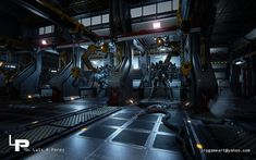 ArtStation - Sci-Fi Mech Hangar, Luis Perez