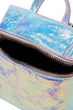 KARA - Satchel Micro Holographic Crinkled-leather Shoulder Bag - Silver - one size