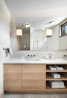 LU BATH INSPO Kitchen floor tile | birch vanity w/ white counter | extended subway tile w/ light gray grout#bathroomvanities #bathroomideas #storagecabinetideas